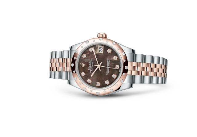 Datejust 31 - Nacre noire, serti de diamants, Acier Oystersteel, or Everose et diamants
