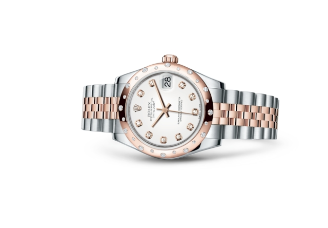 Datejust 31 - Blanc, serti de diamants, Acier Oystersteel, or Everose et diamants