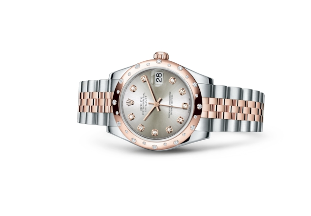 Datejust 31 - Argenté, serti de diamants, Acier Oystersteel, or Everose et diamants