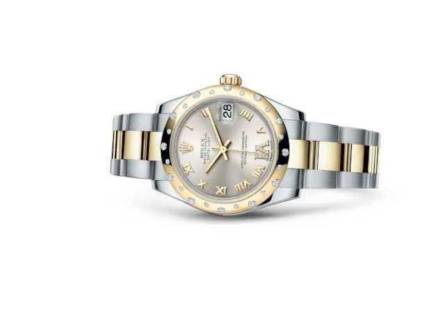 Datejust 31 - Silver set with diamonds, Oystersteel, yellow gold and diamonds