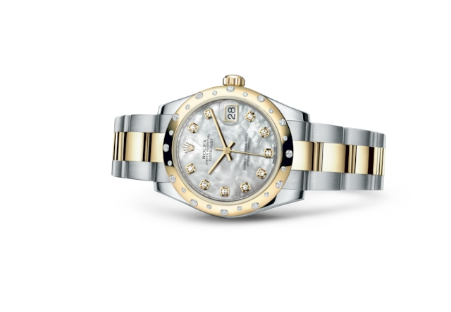 Datejust 31 - White mother-of-pearl set with diamonds, Oystersteel, yellow gold and diamonds