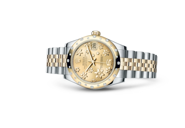 Datejust 31 - Color champagne, motivo floral en relieve, acero, oro amarillo y diamantes
