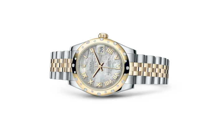 Datejust 31 - White mother-of-pearl, steel, yellow gold and diamonds