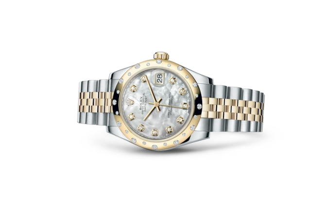 Datejust 31 - Nácar blanco engastada con diamantes, acero, oro amarillo y diamantes