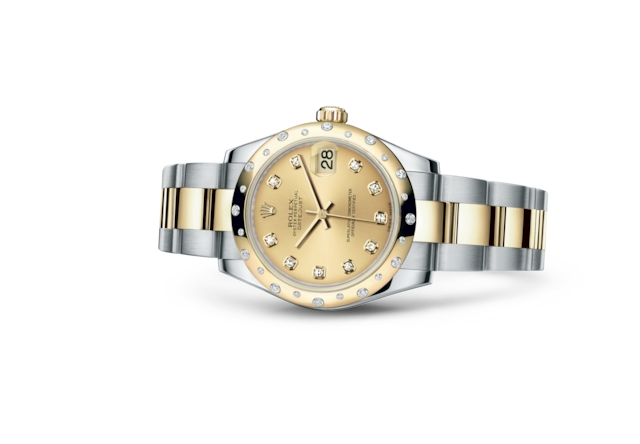 Datejust 31 - Champagne-colour set with diamonds, Oystersteel, yellow gold and diamonds