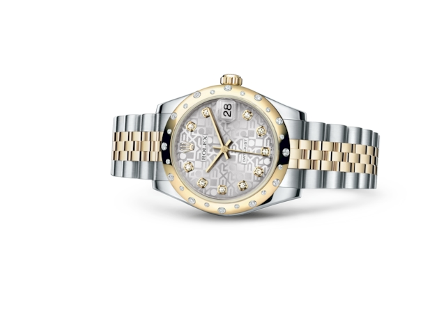 Datejust 31 - Silver Jubilee design set with diamonds, steel, yellow gold and diamonds