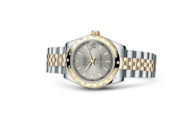 Datejust 31 - Argenté, Acier Oystersteel, or jaune et diamants