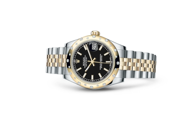 Datejust 31 - Black, steel, yellow gold and diamonds