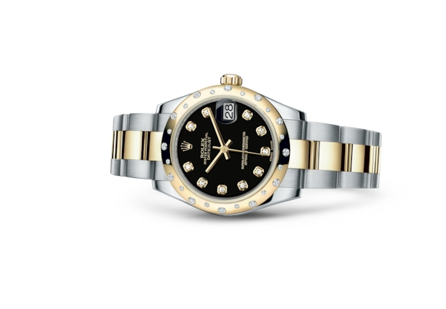 Datejust 31 - Black set with diamonds, steel, yellow gold and diamonds