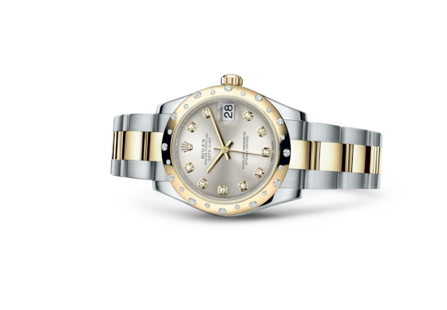 Datejust 31 - Argenté, serti de diamants, acier, or jaune et diamants