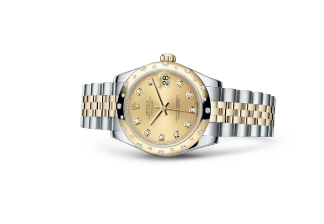 Datejust 31 - Champagne-colour set with diamonds, steel, yellow gold and diamonds