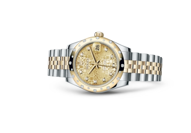 Datejust 31 - Jubilé couleur champagne, serti de diamants, Acier Oystersteel, or jaune et diamants