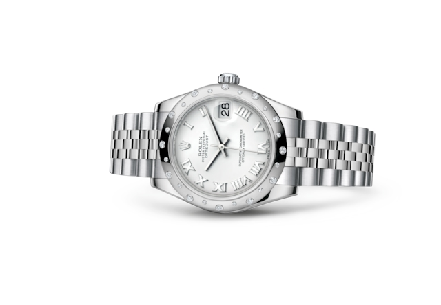 Datejust 31 - Blanc, acier, or gris et diamants