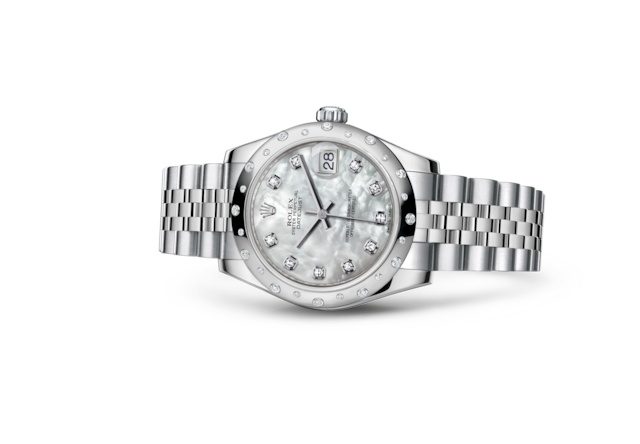 Datejust 31 - Nacre blanche, serti de diamants, acier, or gris et diamants