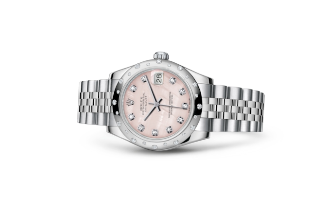 Datejust 31 - Nacre rose, serti de diamants, Acier Oystersteel, or gris et diamants