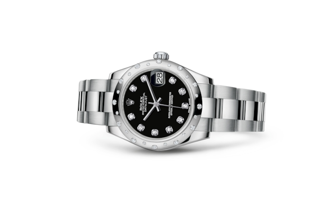 Datejust 31 - Black set with diamonds, Oystersteel, white gold and diamonds
