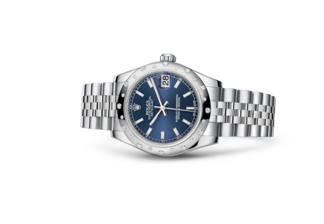 Datejust 31 - Bleu, acier, or gris et diamants