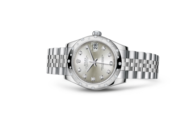 Datejust 31 - Argenté, serti de diamants, acier, or gris et diamants