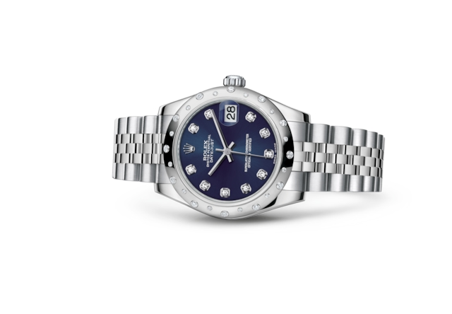 Datejust 31 - Bleu, serti de diamants, Acier Oystersteel, or gris et diamants