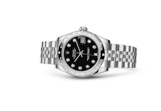 Datejust 31 - Noir, serti de diamants, acier, or gris et diamants