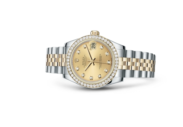 Datejust 31 - Color champagne con diamanti, Acciaio Oystersteel, oro giallo e diamanti