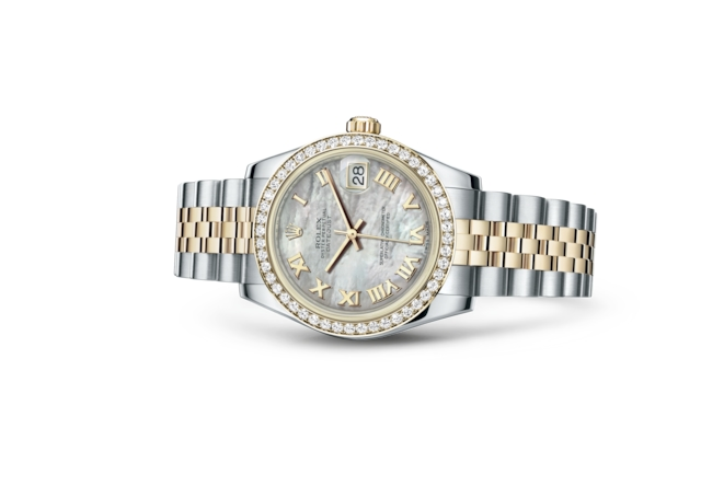 Datejust 31 - White mother-of-pearl, Oystersteel, yellow gold and diamonds