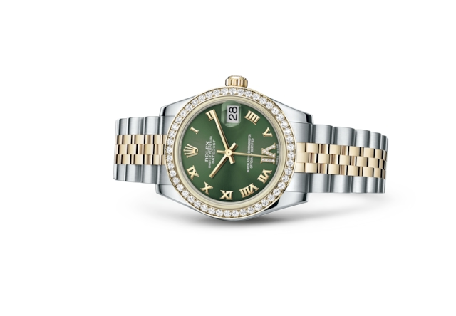 Datejust 31 - Olive green set with diamonds, steel, yellow gold and diamonds