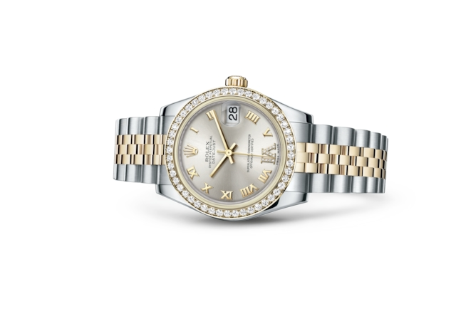 Datejust 31 - Silver set with diamonds, steel, yellow gold and diamonds