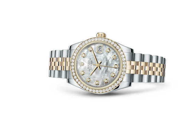 Datejust 31 - Nacre blanche, serti de diamants, acier, or jaune et diamants