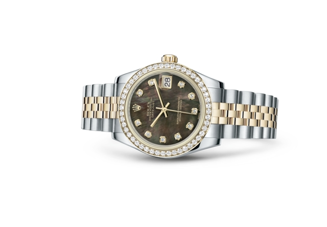 Datejust 31 - Black mother-of-pearl set with diamonds, Oystersteel, yellow gold and diamonds
