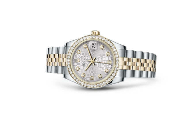 Datejust 31 - Silver Jubilee design set with diamonds, Oystersteel, yellow gold and diamonds