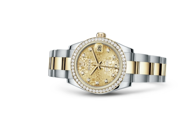 Datejust 31 - Champagne-colour Jubilee design set with diamonds, Oystersteel, yellow gold and diamonds