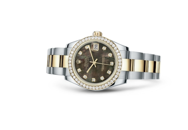 Datejust 31 - Nacre noire, serti de diamants, Acier Oystersteel, or jaune et diamants