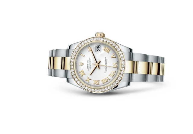 Datejust 31 - White, Oystersteel, yellow gold and diamonds