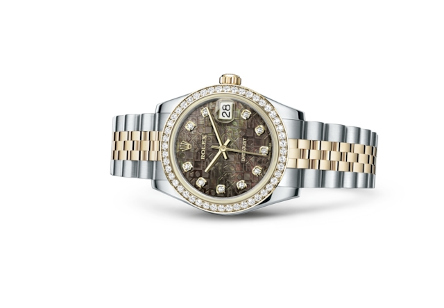 Datejust 31 - Black mother-of-pearl Jubilee design set with diamonds, steel, yellow gold and diamonds