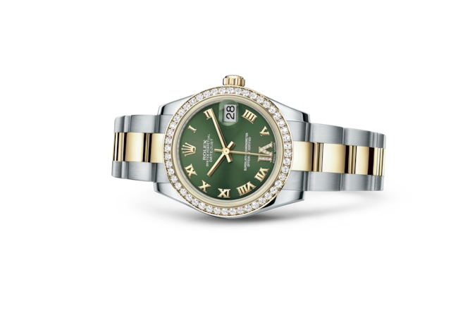 Datejust 31 - Olive green set with diamonds, Oystersteel, yellow gold and diamonds