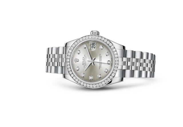 Datejust 31 - Silver set with diamonds, Oystersteel, white gold and diamonds