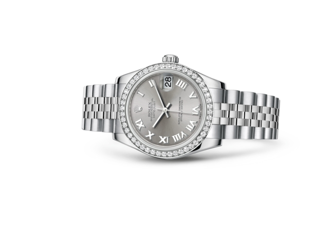 Datejust 31 - Rhodium, Oystersteel, white gold and diamonds