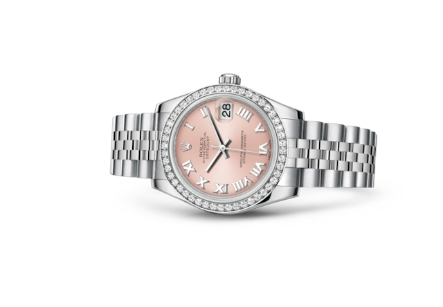 Datejust 31 - Rose, Acier Oystersteel, or gris et diamants