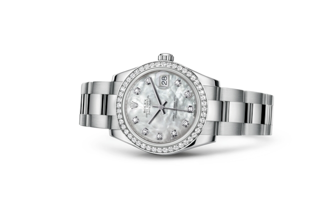 Datejust 31 - White mother-of-pearl set with diamonds, Oystersteel, white gold and diamonds