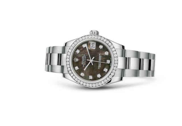 Datejust 31 - Black mother-of-pearl set with diamonds, Oystersteel, white gold and diamonds