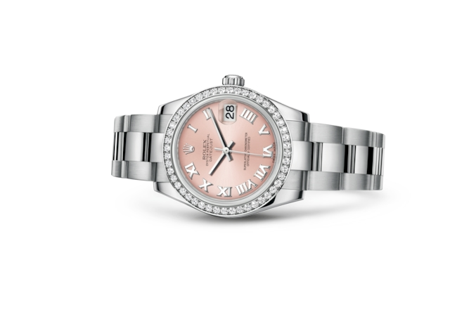 Datejust 31 - Rose, acier, or gris et diamants