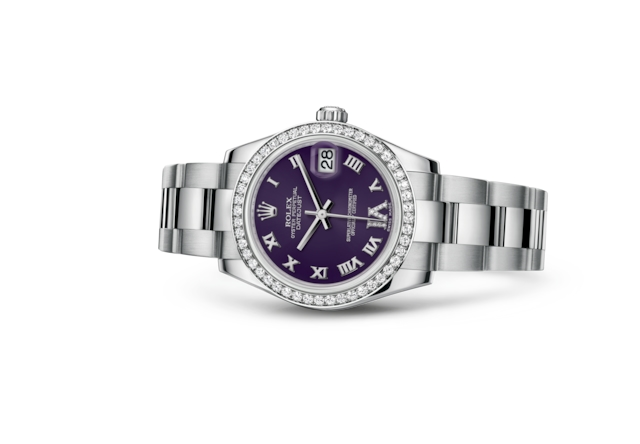 Datejust 31 - Violet, serti de diamants, acier, or gris et diamants