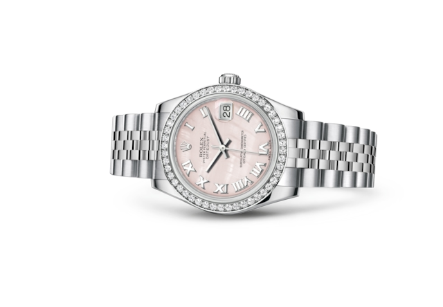 Datejust 31 - Nacre rose, Acier Oystersteel, or gris et diamants