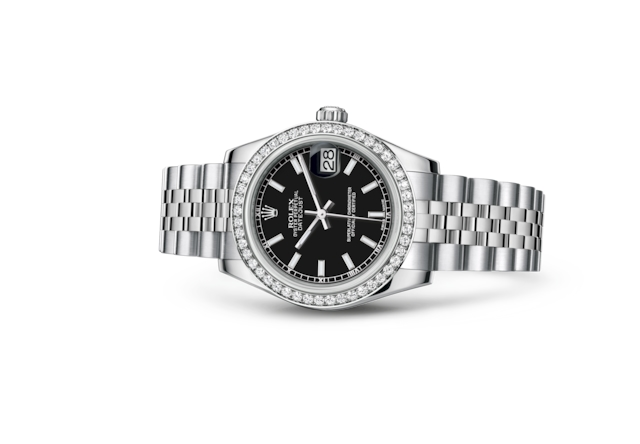 Datejust 31 - Black, Oystersteel, white gold and diamonds