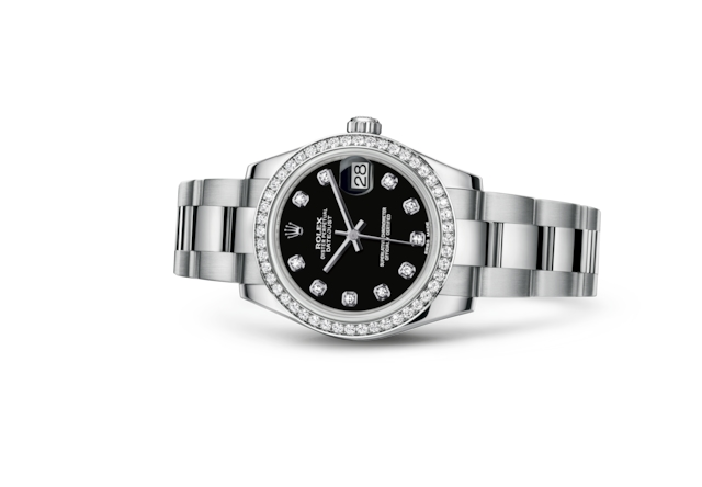 Datejust 31 - Black set with diamonds, steel, white gold and diamonds