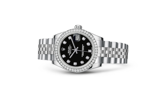Datejust 31 - Noir, serti de diamants, Acier Oystersteel, or gris et diamants