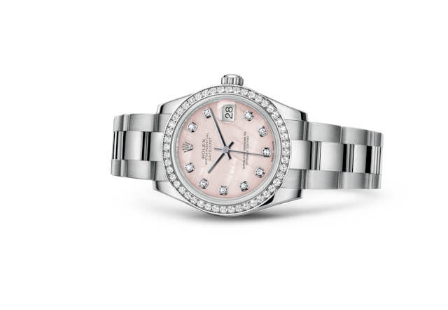 Datejust 31 - Pink mother-of-pearl set with diamonds, Oystersteel, white gold and diamonds