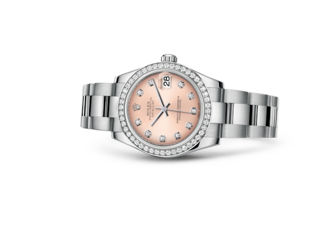 Datejust 31 - Rose, serti de diamants, Acier Oystersteel, or gris et diamants