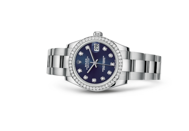 Datejust 31 - Bleu, serti de diamants, acier, or gris et diamants